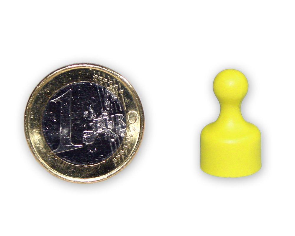 Kleiner Kegelmagnet Ø 12 mm gelb - hält 1,6 kg