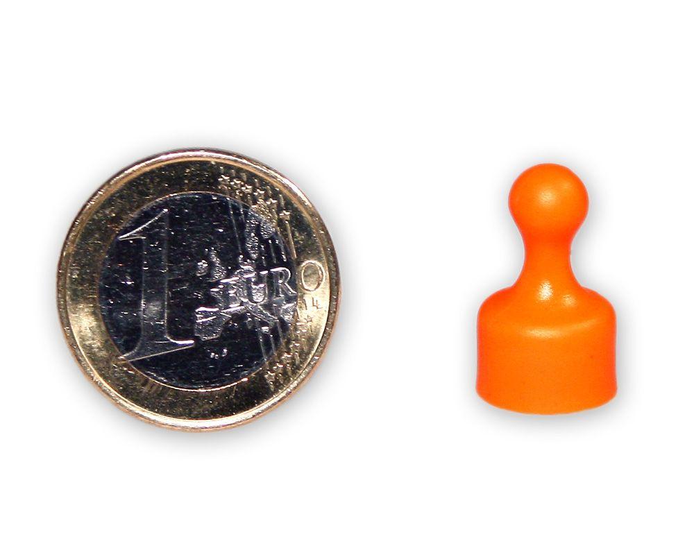 Kleiner Kegelmagnet Ø 12 mm orange - hält 1,6 kg