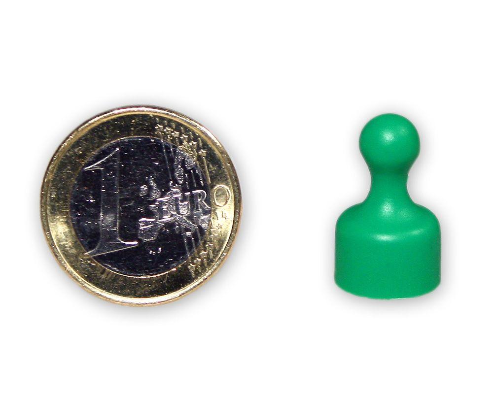 Kleiner Kegelmagnet Ø 12 mm grün - hält 1,6 kg