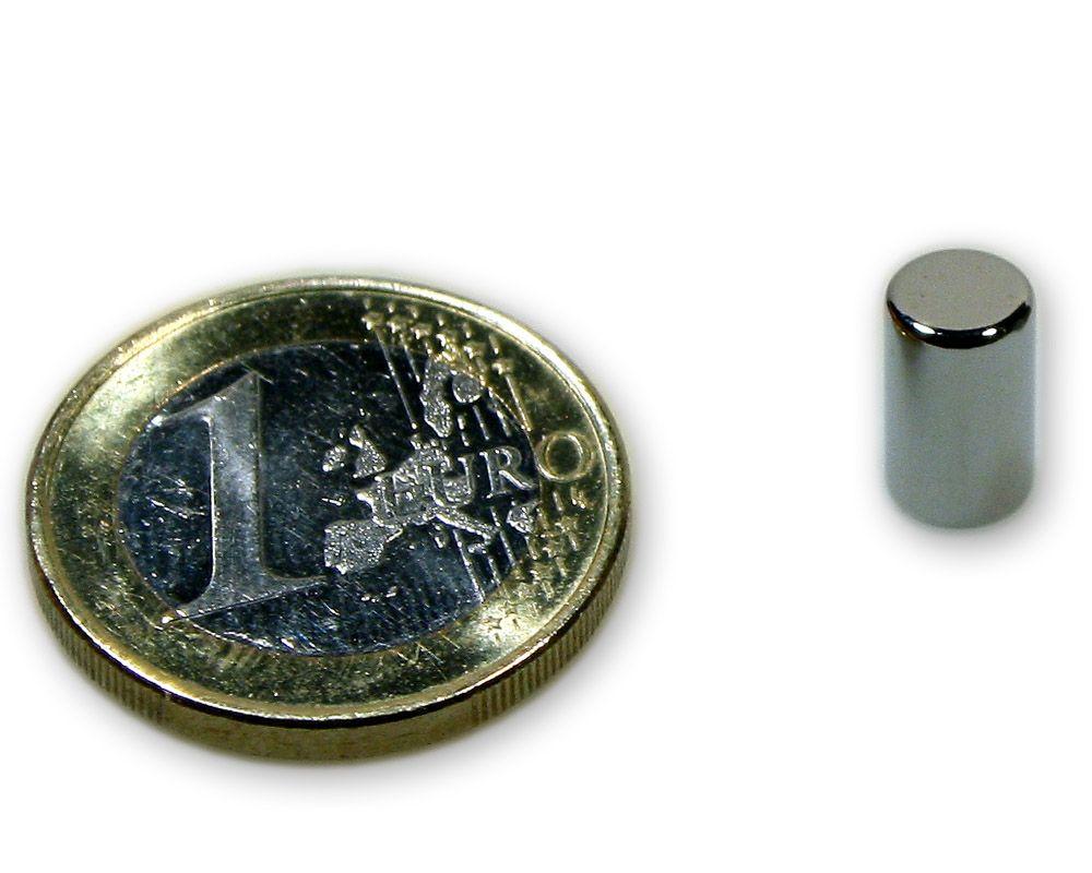 Stabmagnet Ø 6,0 x 10,0 mm Neodym N45 vernickelt - hält 1,1 kg