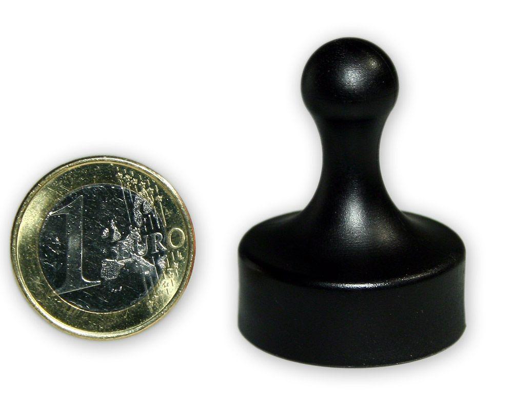 Großer Kegelmagnet Ø 29 mm schwarz- hält 4,8 kg
