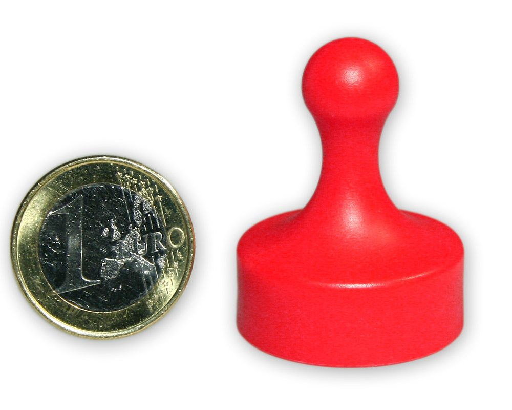 Großer Kegelmagnet Ø 29 mm rot - hält 4,8 kg