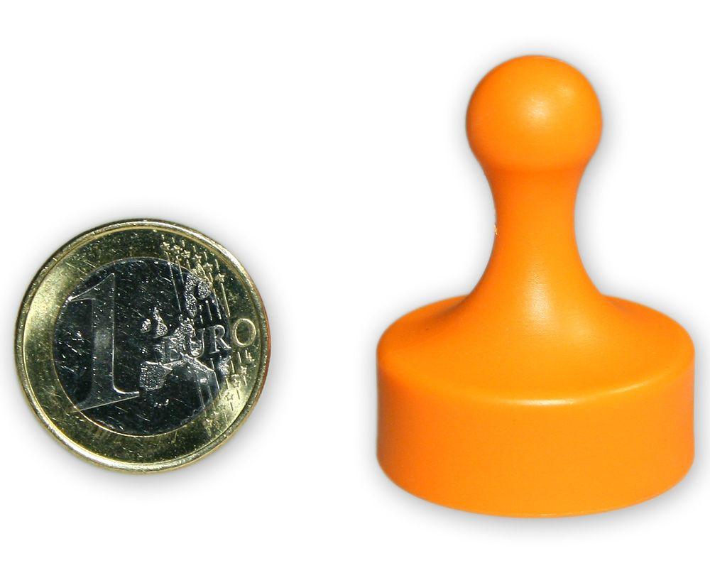Großer Kegelmagnet Ø 29 mm orange - hält 4,8 kg
