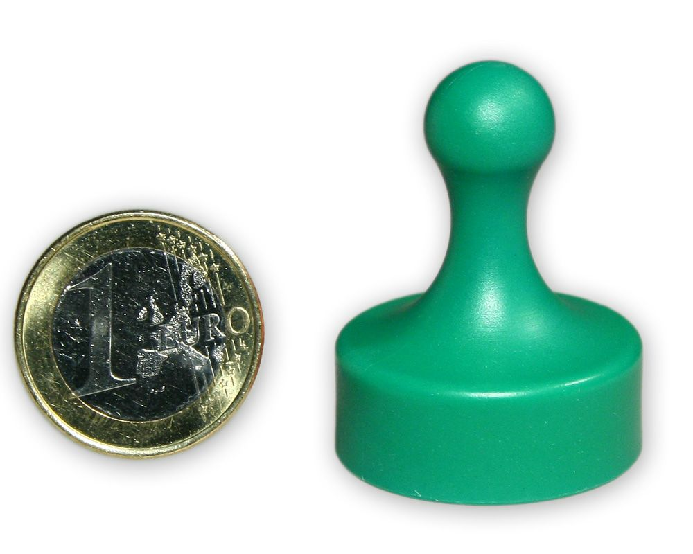 Großer Kegelmagnet Ø 29 mm grün - hält 4,8 kg