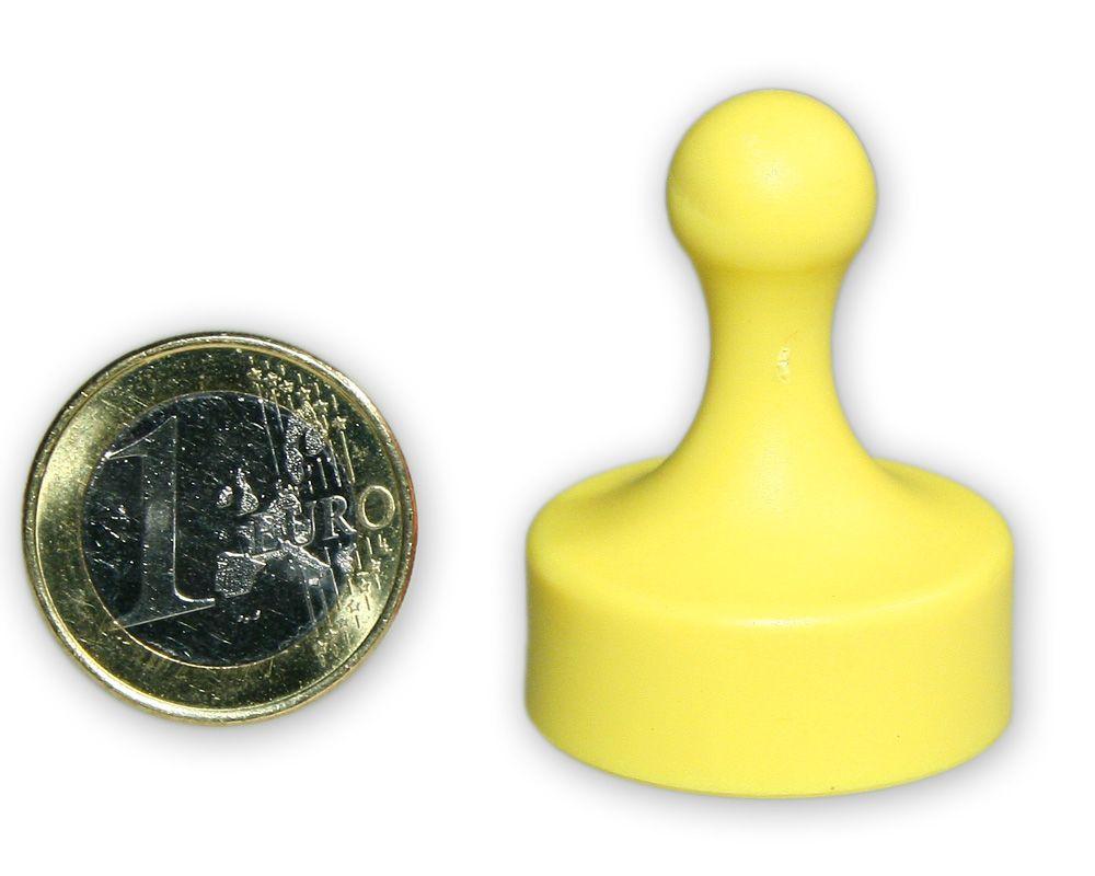 Großer Kegelmagnet Ø 29 mm gelb - hält 4,8 kg
