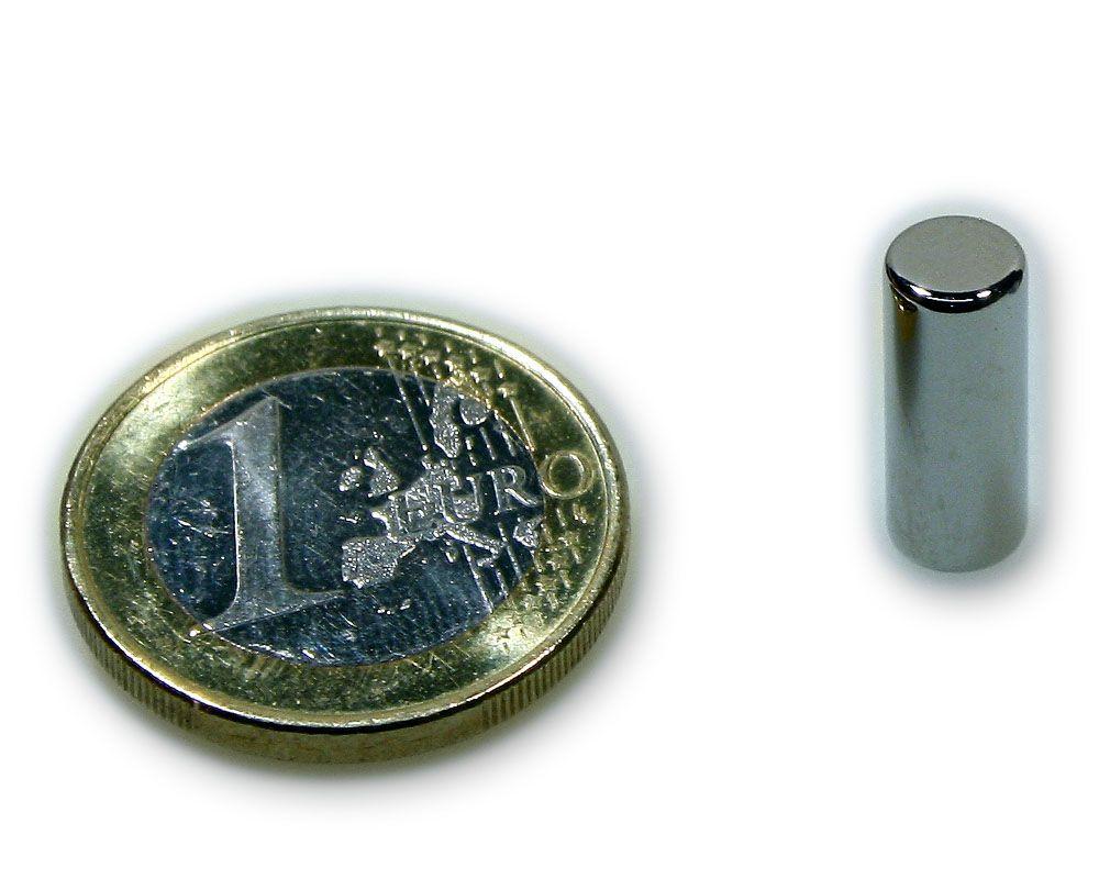 Stabmagnet Ø 6,0 x 15,0 mm Neodym N45 vernickelt - hält 1,3 kg