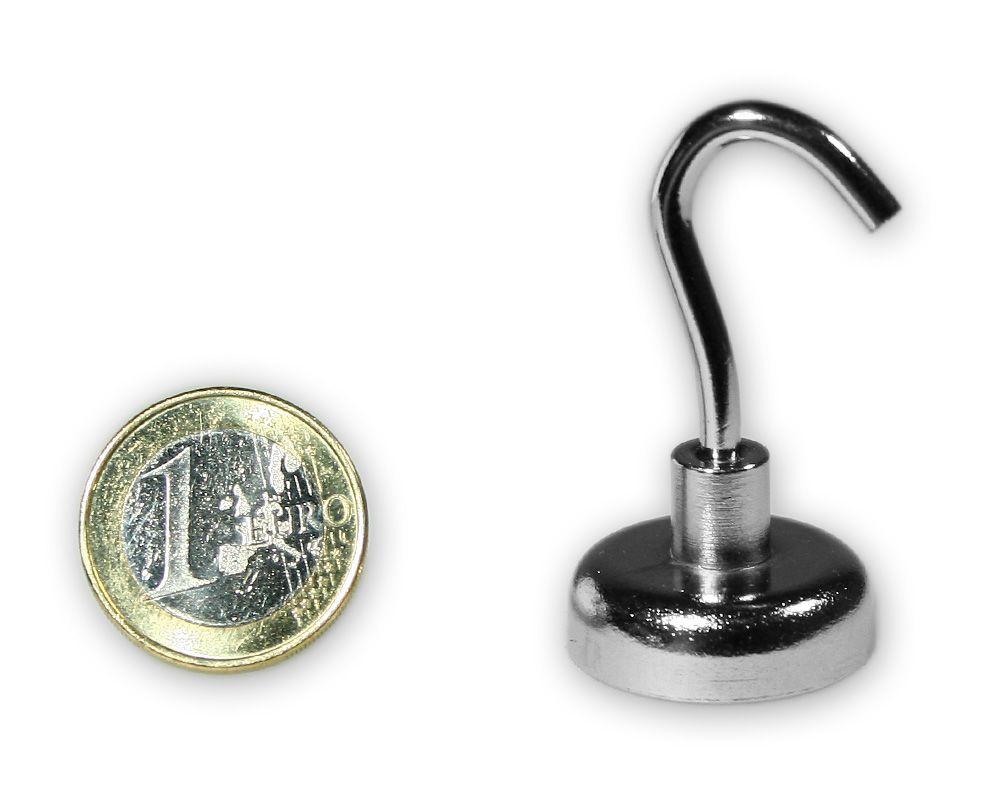 Hakenmagnet Ø 25 mm mit Neodym - verzinkt - hält 23 kg