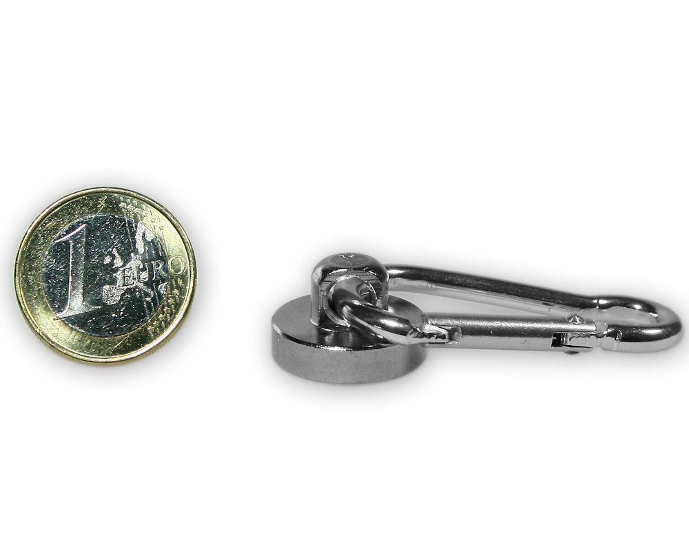 Karabinermagnet Ø 20 mm Neodym - verzinkt - hält 10,0 kg