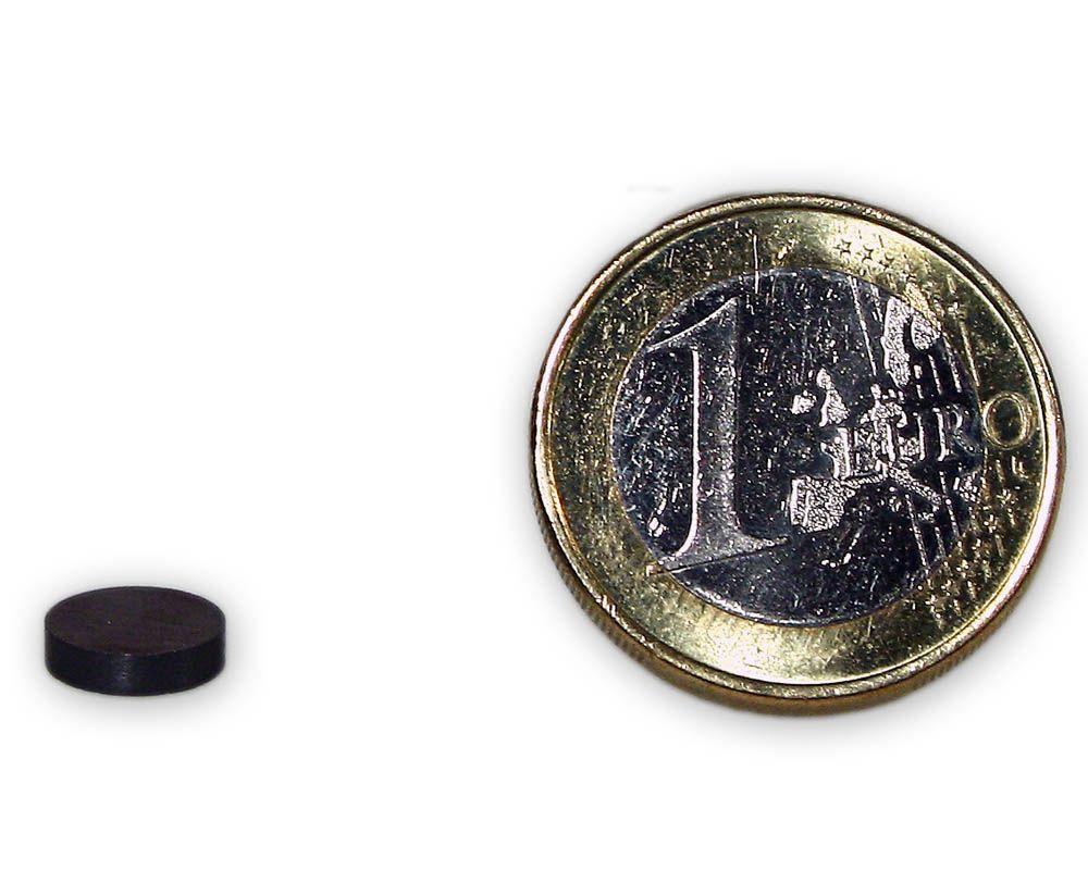 Scheibenmagnet Ø 8,0 x 2,0 mm Y30 Ferrit - hält 100 g