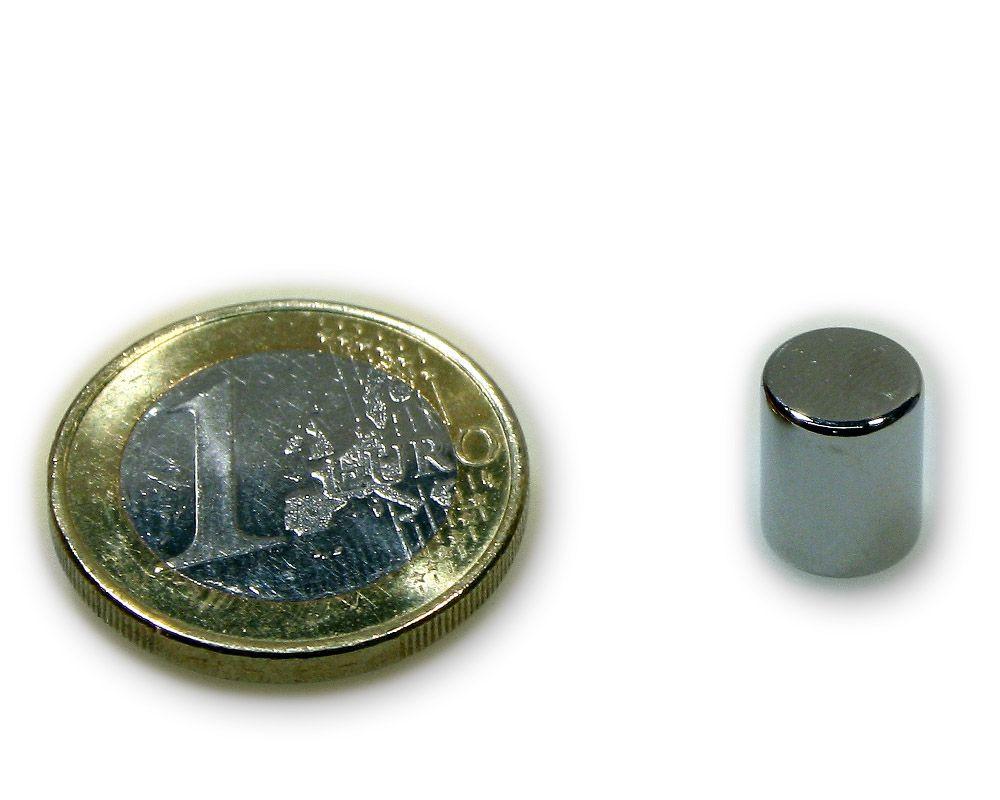Stabmagnet Ø 8,0 x 10,0 mm Neodym N45 vernickelt - hält 1,5 kg