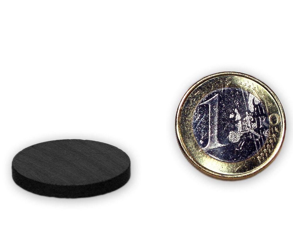 Scheibenmagnet Ø 25,0 x 3,0 mm Y30 Ferrit - hält 600 g