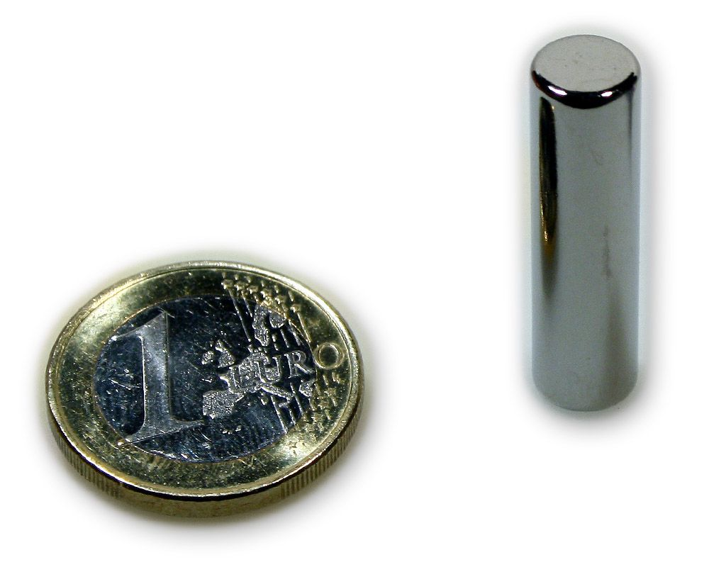 Stabmagnet Ø 8,0 x 30,0 mm Neodym N45 vernickelt - hält 4 kg