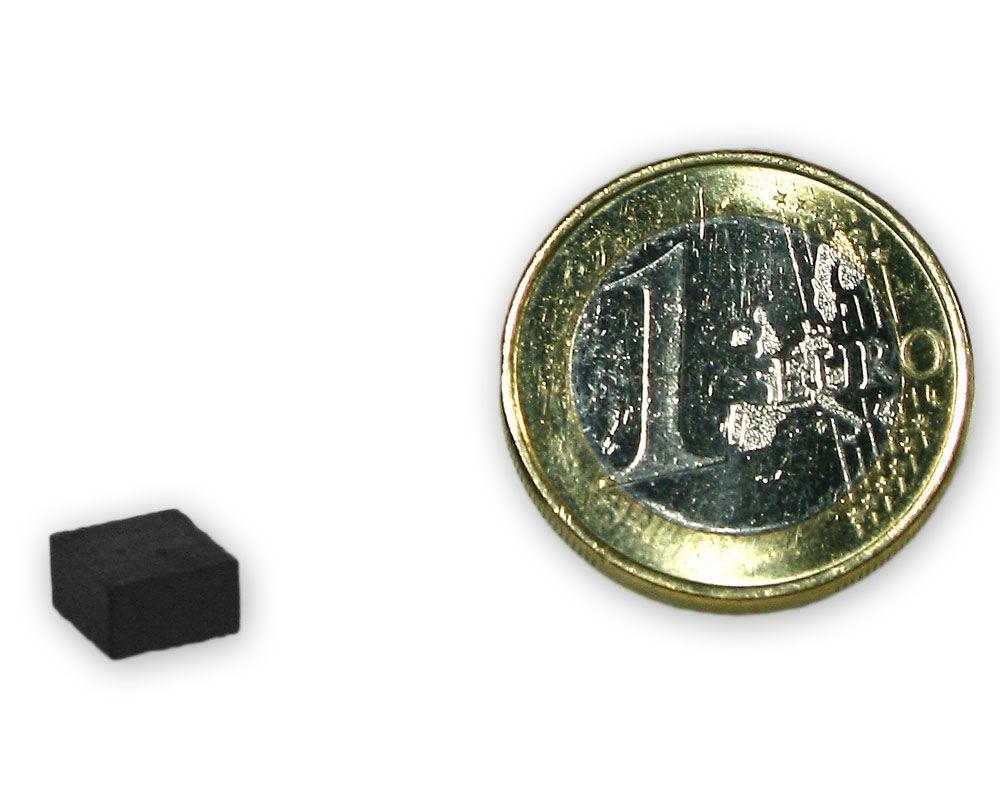 Quadermagnet 7,0 x 7,0 x 4,0 mm Y35 Ferrit - hält 170 g
