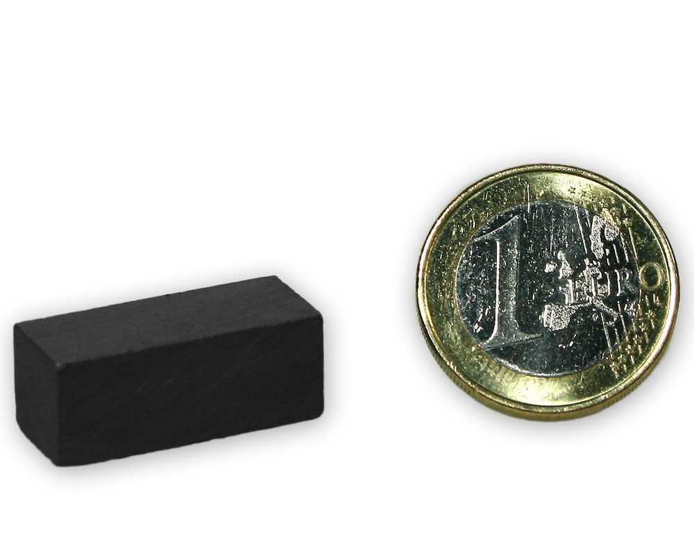 Quadermagnet 25,0 x 10,0 x 10,0 mm Y35 Ferrit - hält 1,0 kg