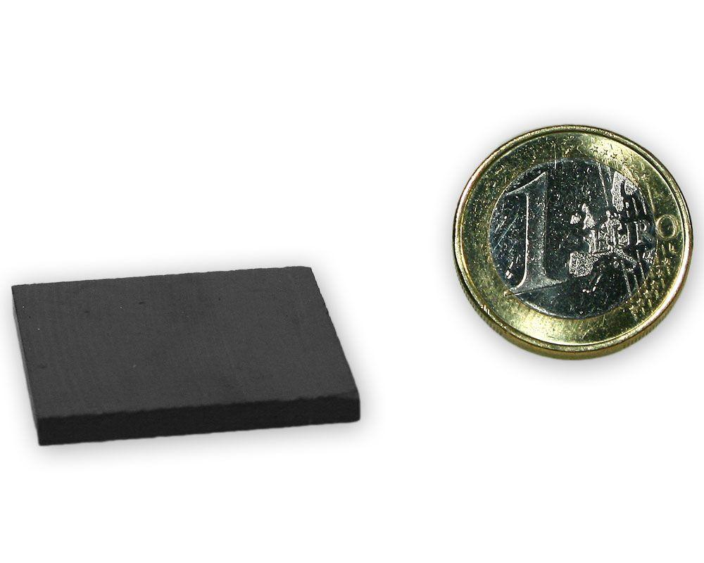 Quadermagnet 30,0 x 30,0 x 3,0 mm Y35 Ferrit - hält 900 g