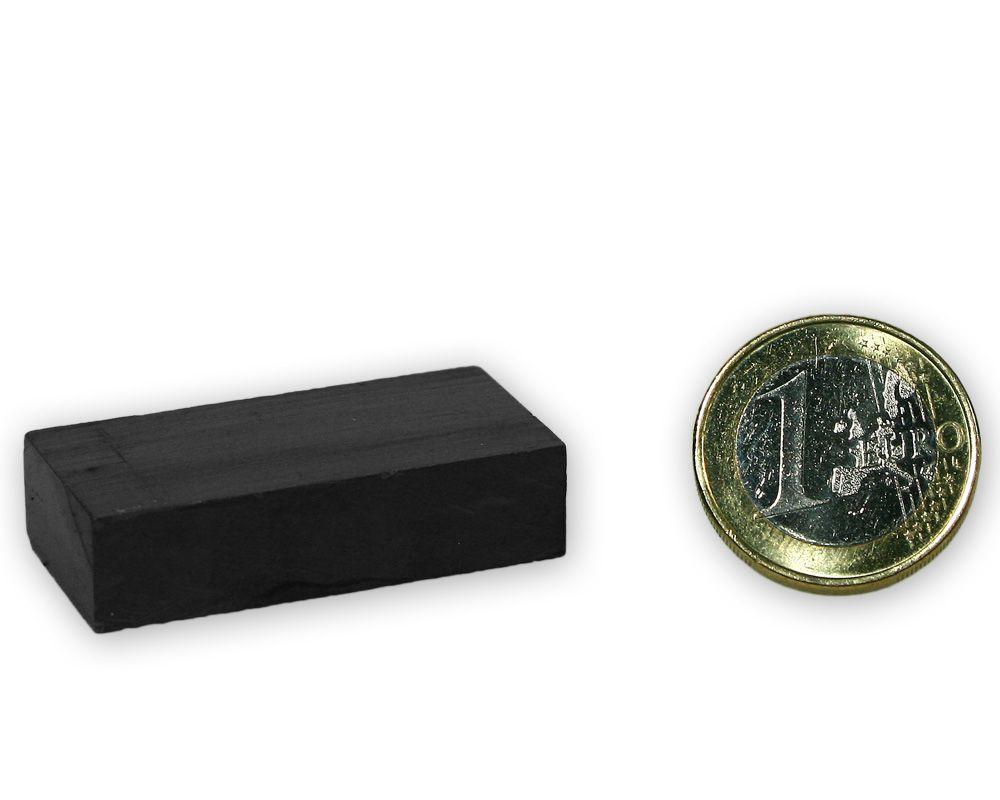 Quadermagnet 40,0 x 20,0 x 10,0 mm Y35 Ferrit - hält 2,6 kg