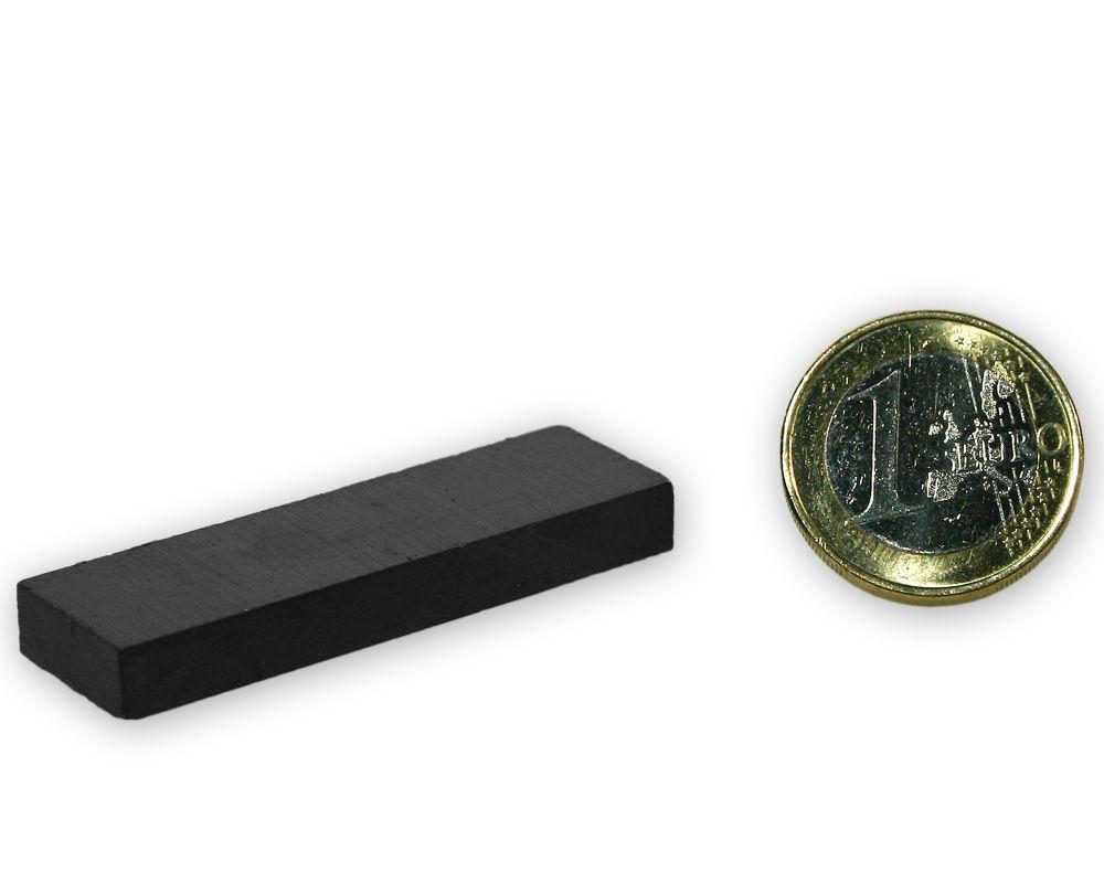 Quadermagnet 50,0 x 15,0 x 6,0 mm Y35 Ferrit - hält 1,5 kg