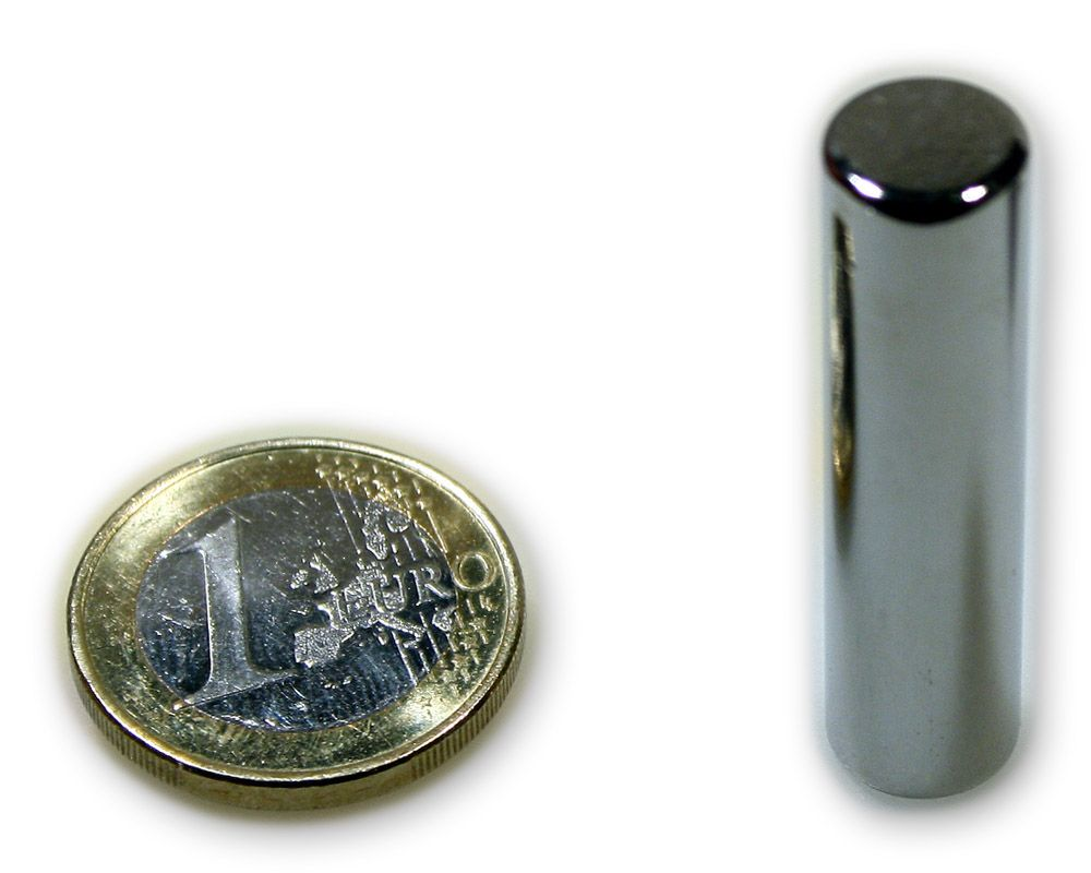 Stabmagnet Ø 10,0 x 40,0 mm Neodym N45 vernickelt - hält 4,8 kg