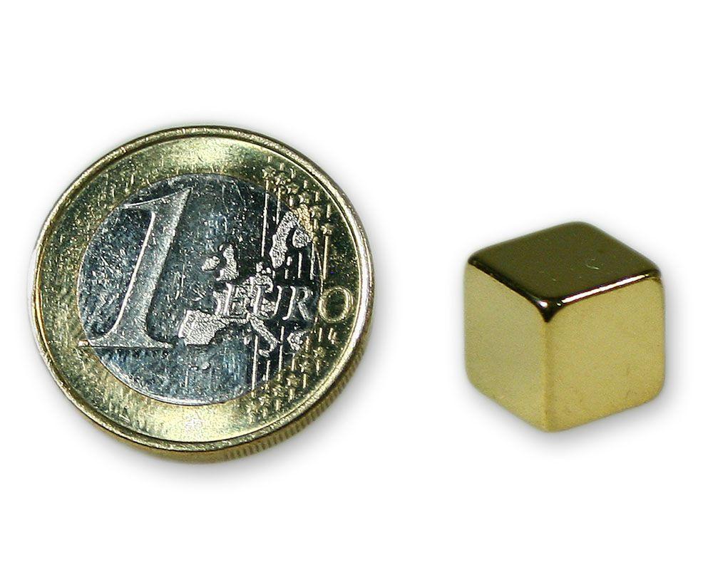 Würfelmagnet 10,0 x 10,0 x 10,0 mm Neodym N45 gold - hält 7,3 kg