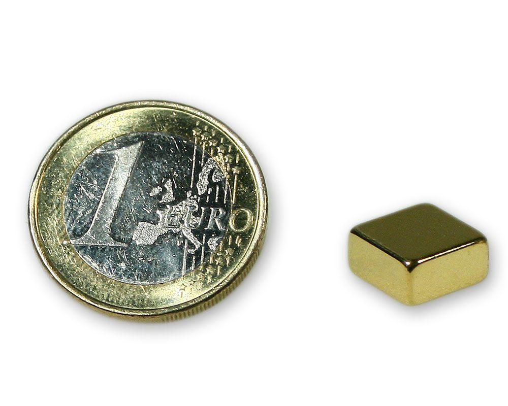Quadermagnet 10,0 x 10,0 x 5,0 mm Neodym N45 vergoldet - hält 3,2 kg
