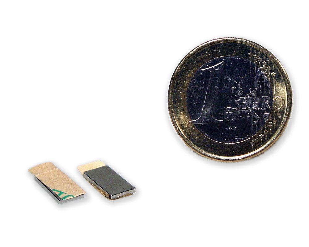 Quadermagnet 10,0 x 5,0 x 1,0 mm Neodym N35 vernickelt - selbstklebend