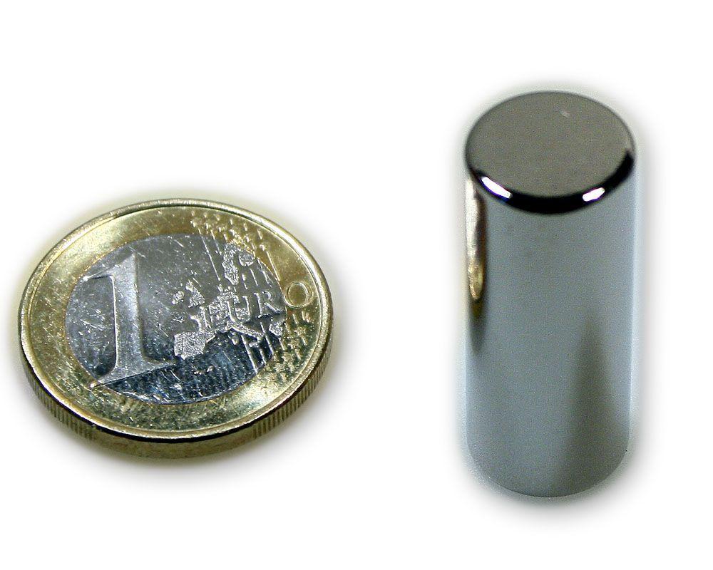Stabmagnet Ø 12,0 x 30,0 mm Neodym N45 vernickelt - hält 7,5 kg