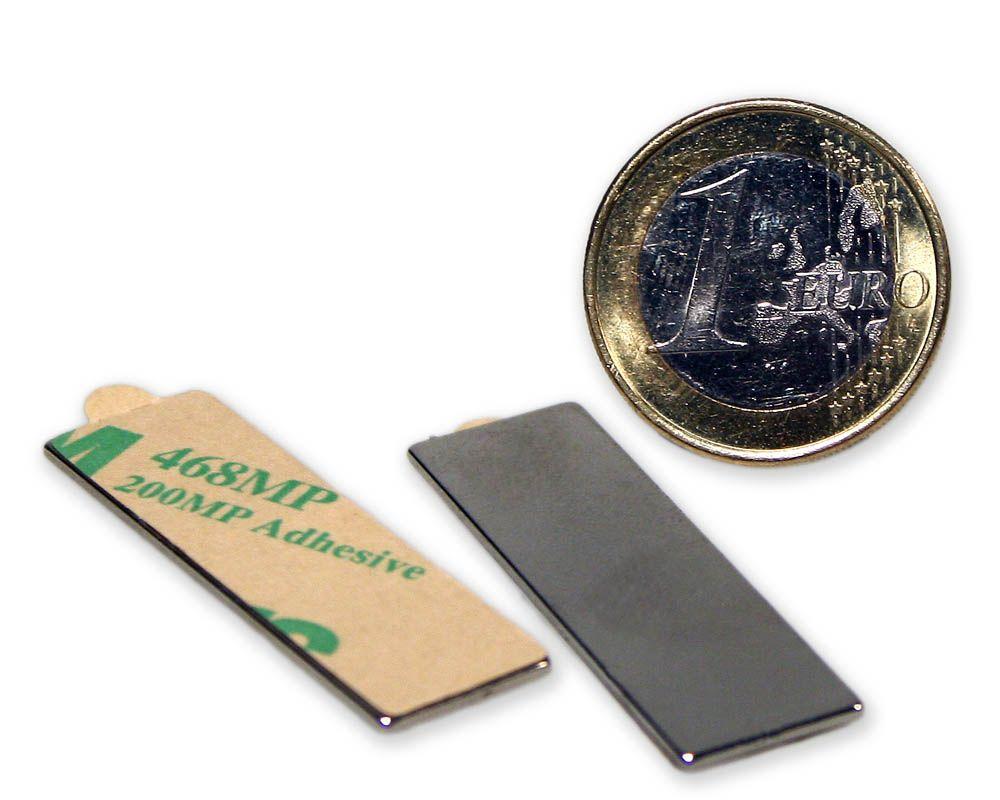 Quadermagnet 40,0 x 12,0 x 1,0 mm Neodym N35 vernickelt - selbstklebend