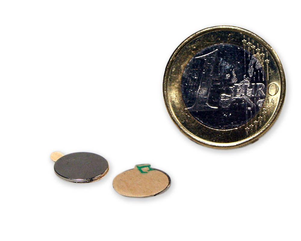 Scheibenmagnet selbstklebend Ø 10,0 x 0,6 mm Neodym N35 - hält 320 g