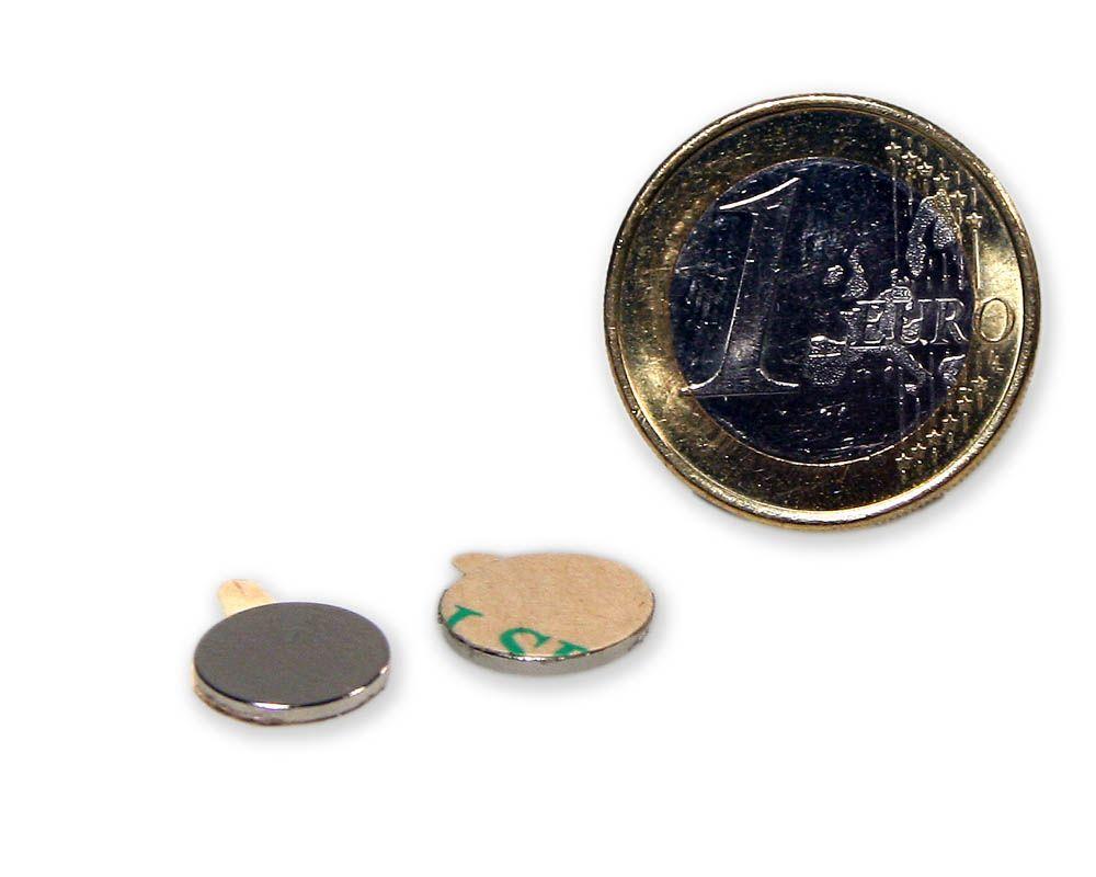 Scheibenmagnet selbstklebend Ø 10,0 x 1,0 mm Neodym N35 - hält 560 g
