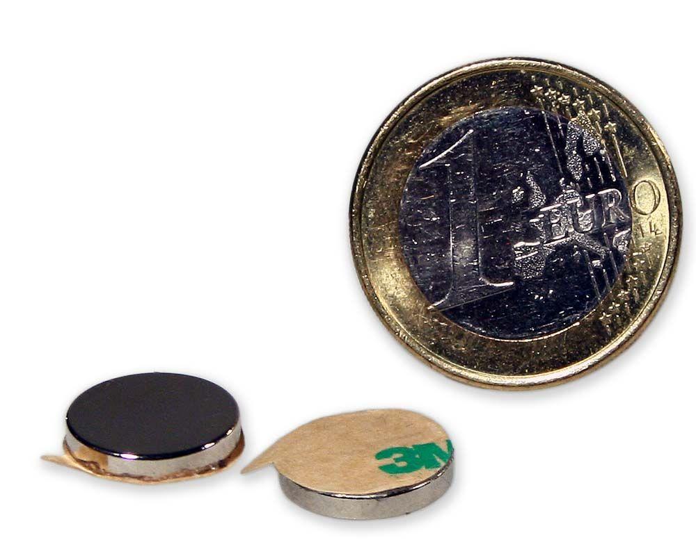 Scheibenmagnet selbstklebend Ø 12,0 x 2,0 mm Neodym N35 - hält 1,45 kg