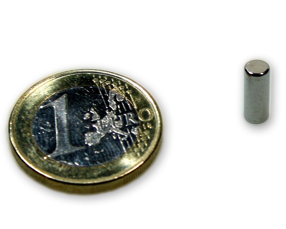Stabmagnet Ø 4,0 x 10,0 mm Neodym N45 vernickelt - diametral