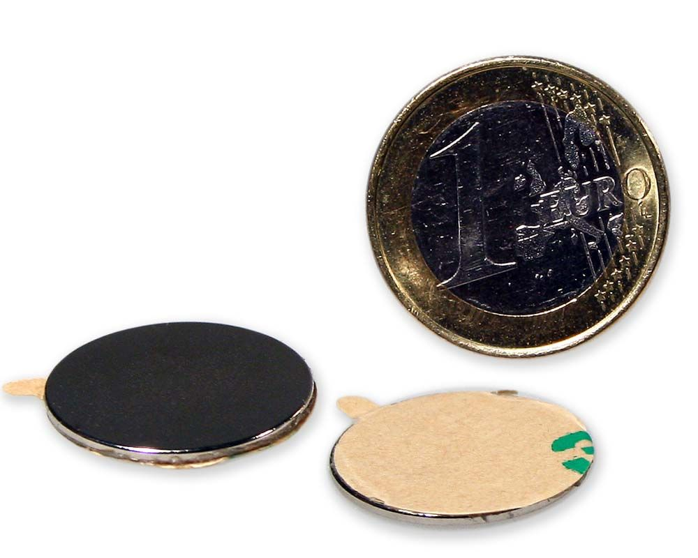 Scheibenmagnet selbstklebend Ø 20,0 x 1,0 mm Neodym N35 - hält 1,2 kg