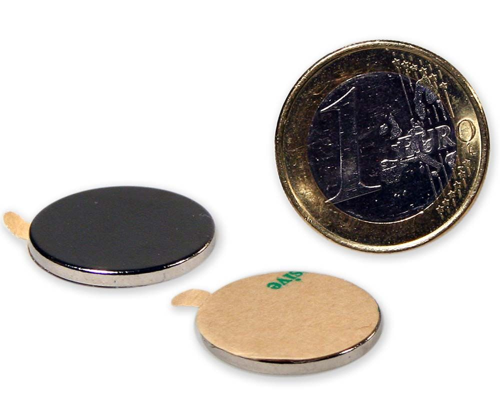 Scheibenmagnet selbstklebend Ø 20,0 x 2,0 mm Neodym N35 - hält 2,4 kg