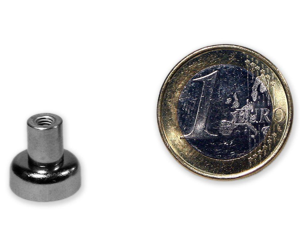 Neodym Flachgreifer mit Buchse Ø 12,0 mm M3 hält 3,2 kg