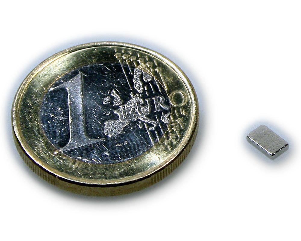 Quadermagnet 5,0 x 3,0 x 1,0 mm Neodym N45 vernickelt - hält 300 g