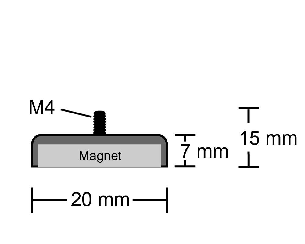 Neodym Flachgreifer Mit Gewinde O 20 0 Mm M4 Halt Magnetmax De