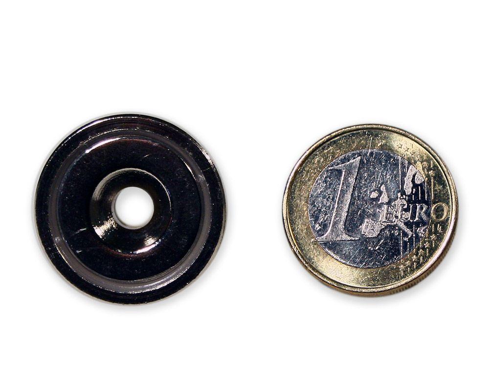 Neodym Flachgreifer mit Senkung Ø 25 x 8,0 mm hält 17,5 kg