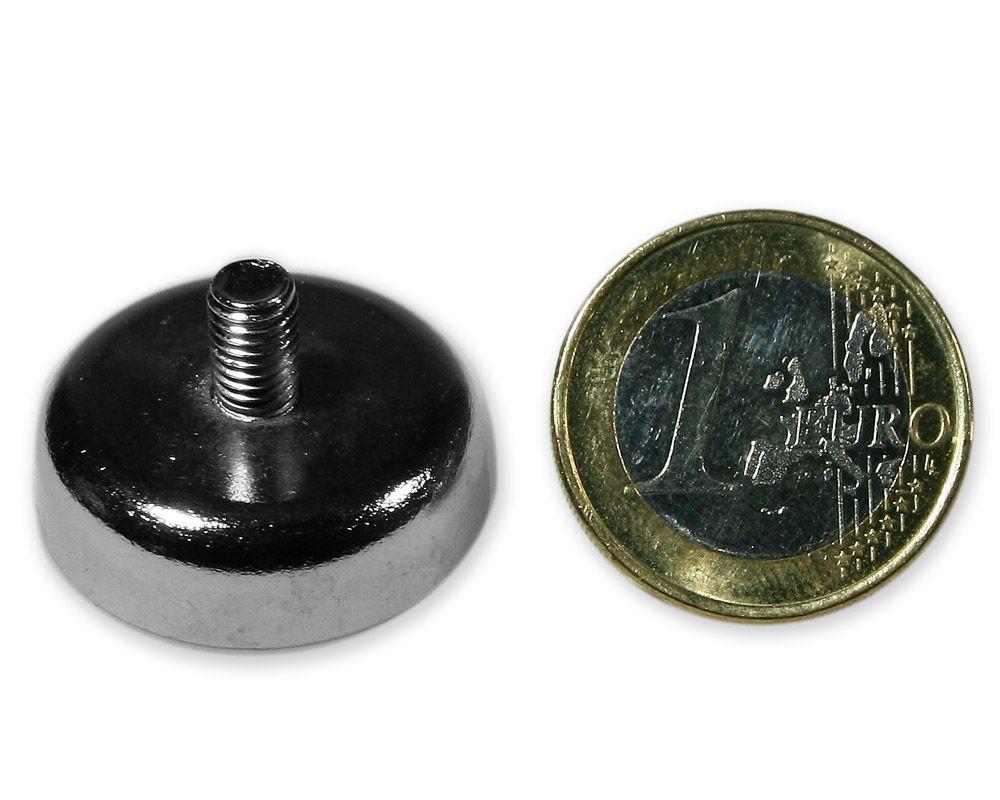 Neodym Flachgreifer mit Gewinde Ø 25,0 mm M5 hält 15,5 kg