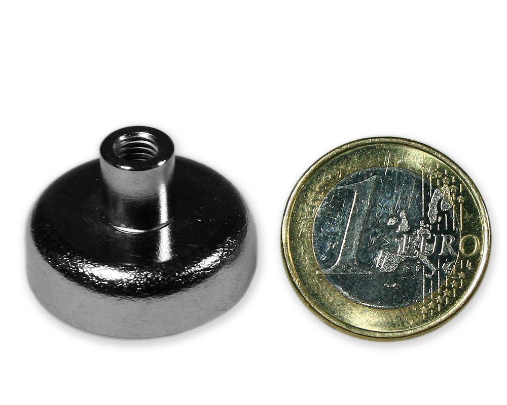 Neodym Flachgreifer mit Buchse Ø 25,0 mm M5 hält 15,5 kg