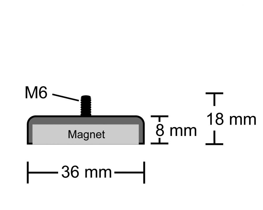 Neodym Flachgreifer Mit Gewinde O 36 0 Mm M8 Halt Magnetmax De