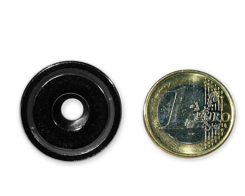 Neodym Flachgreifer mit Bohrung Ø 25,0 x 8,0 mm hält 15 kg