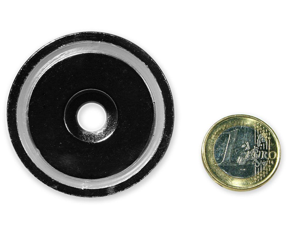 Neodym Flachgreifer mit Bohrung Ø 48,0 x 11,5 mm hält 63 kg