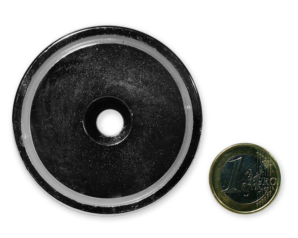 Neodym Flachgreifer mit Bohrung Ø 60,0 x 15,0 mm hält 95 kg