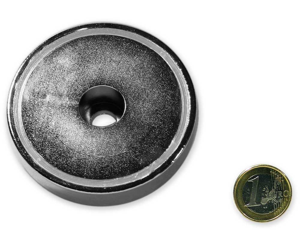 Neodym Flachgreifer mit Bohrung Ø 75,0 x 18,0 mm hält 160 kg