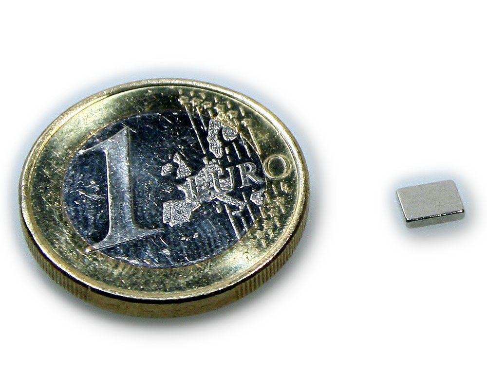 Quadermagnet 5,0 x 4,0 x 1,0 mm Neodym N45 vernickelt - hält 350 g