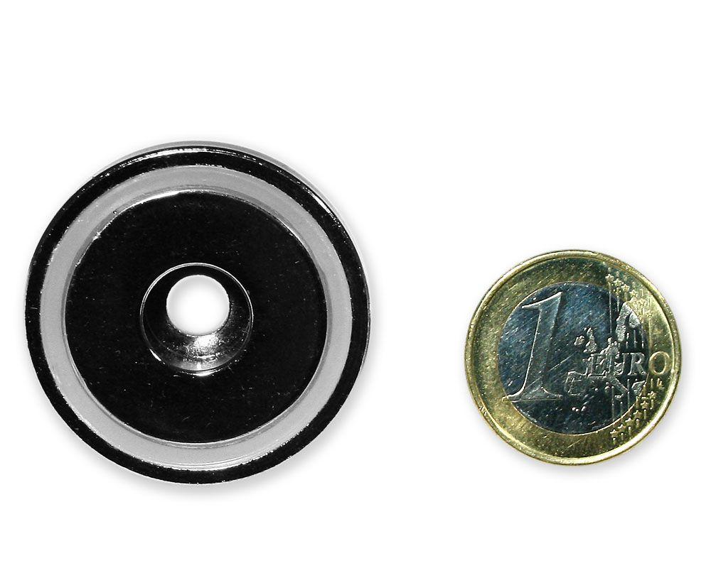 Neodym Flachgreifer mit Bohrung Ø 36,0 x 8,0 mm hält 28 kg