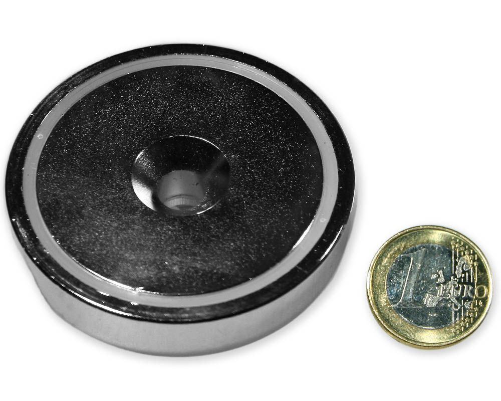 Neodym Flachgreifer mit Senkung Ø 60 x 15,0 mm hält 132 kg