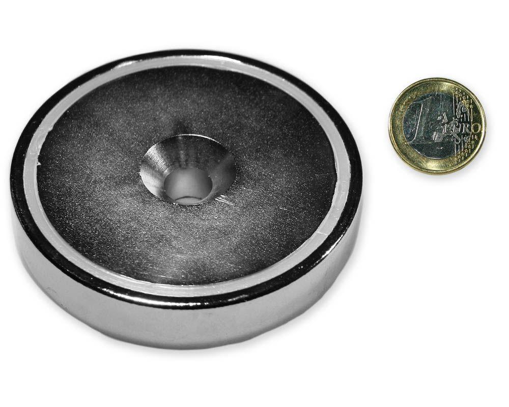 Neodym Flachgreifer mit Senkung Ø 75 x 15,0 mm hält 165 kg