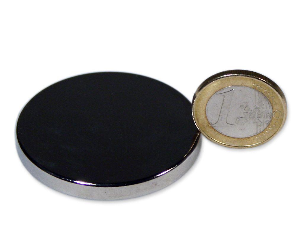 Scheibenmagnet Ø 45,0 x 5,0 mm Neodym N45 vernickelt - hält 16,2 kg