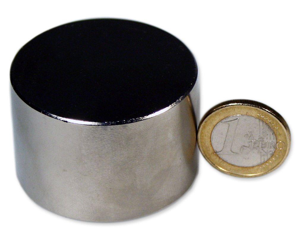 Scheibenmagnet Ø 45,0 x 30,0 mm Neodym N52 vernickelt - hält 120 kg